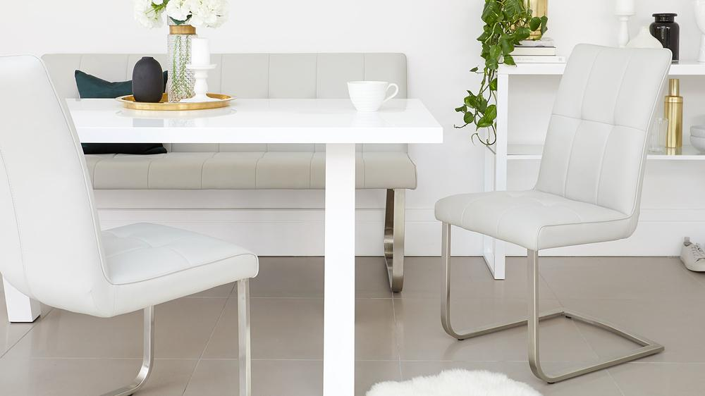 white gloss bench dining set