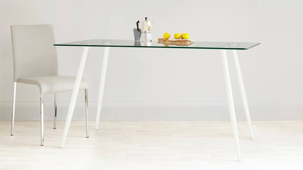 Zilo white and glass dining table
