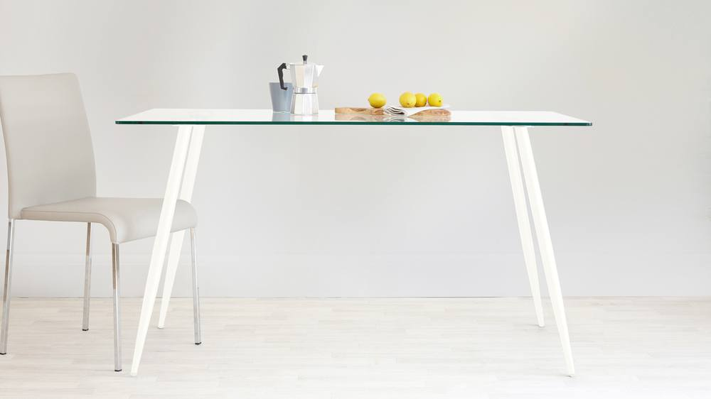 Matt white rectangular glass table