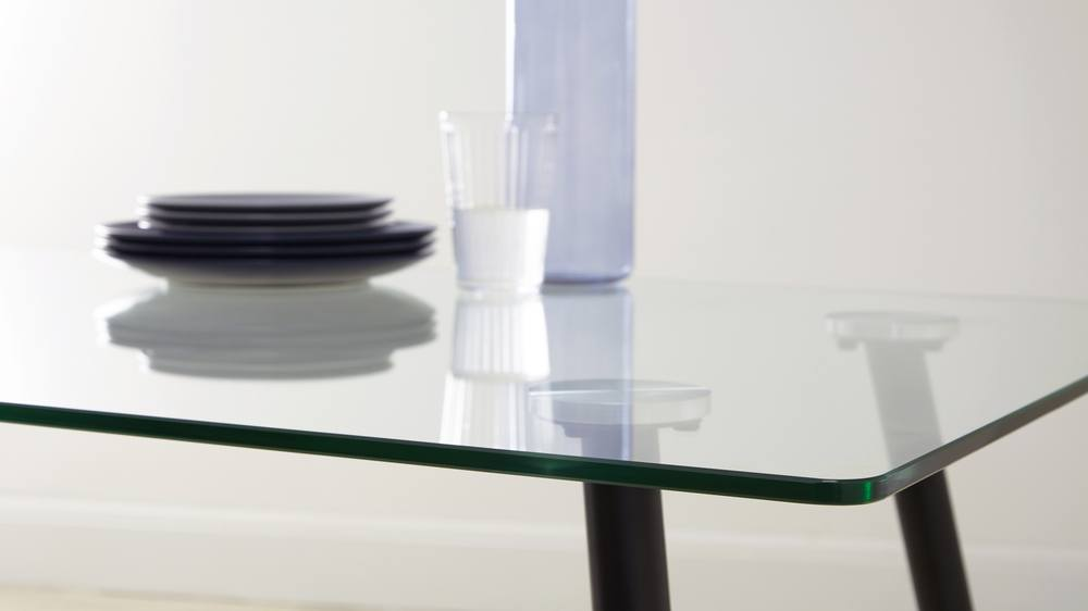 Strong Simplistic Glass Table with Black Brushed Metal Legs
