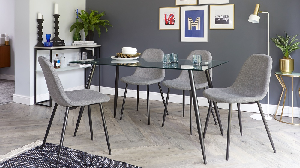 Modern Glass dining table seats up to six