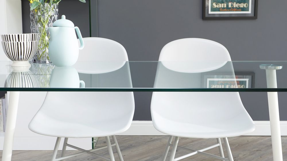 Buy 6 seater glass white dining table