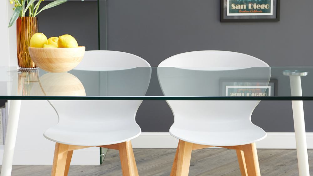 Buy glass table and wooden chair set