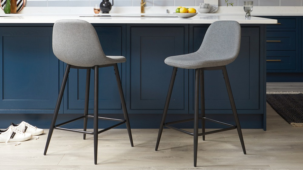 Zilo Fabric Grey Bar Stool