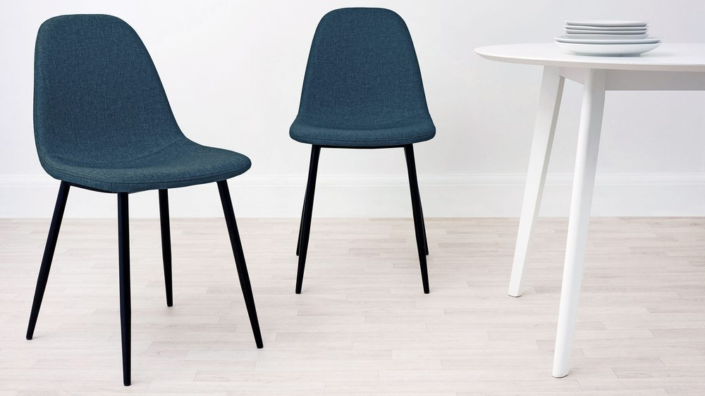 Teal fabric chairs