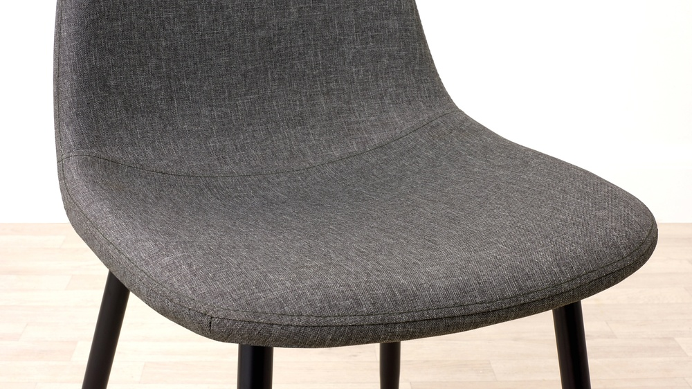 Grey Fabric Black Legged Dining Chair