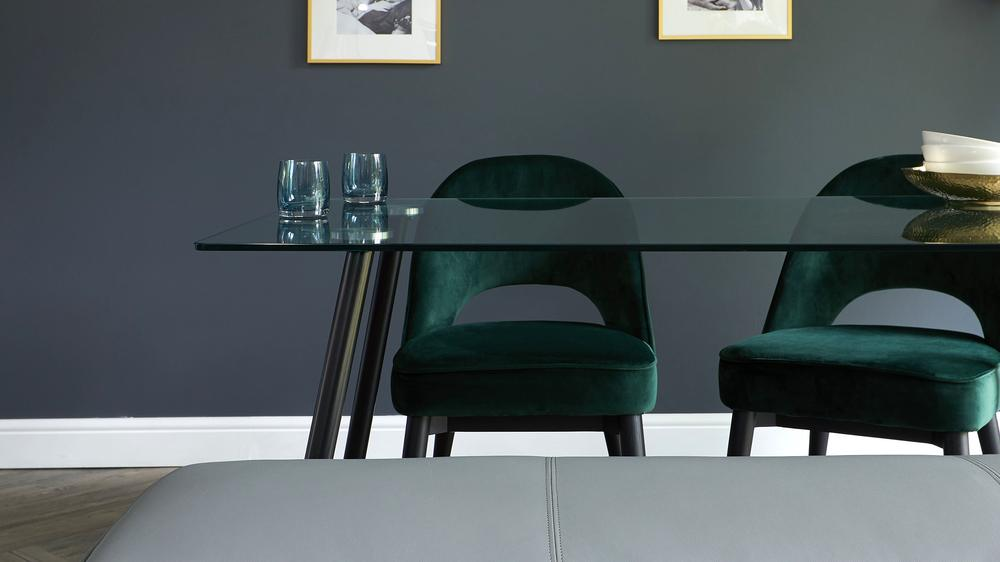 dark green velvet dining chairs