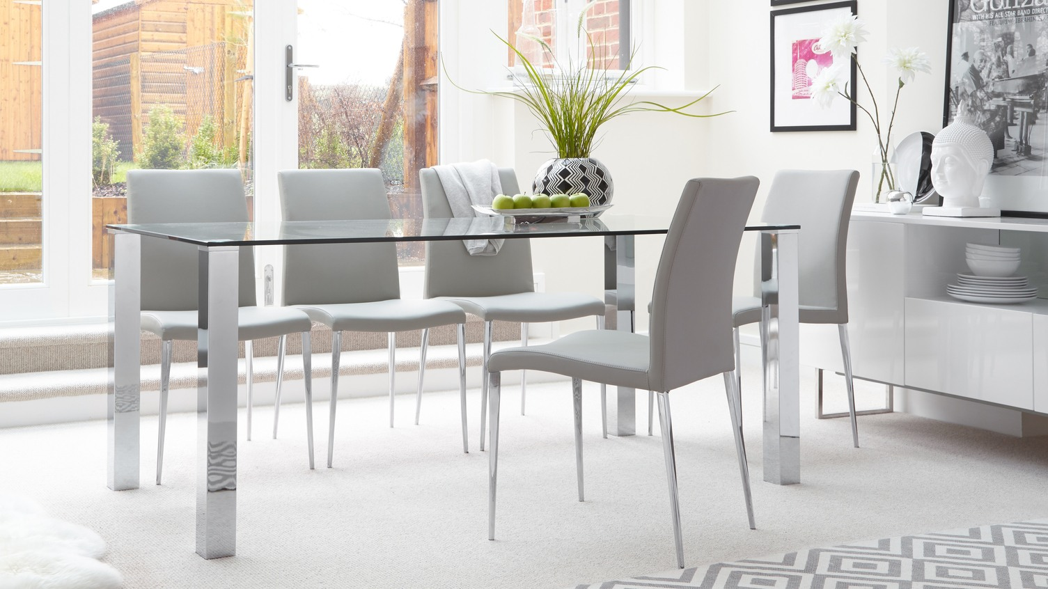 Set Multicolored Contemporary Dining Chairs Around Glass Table Set On . Full resolution  image, nominally Width 1505 Height 846 pixels, image with #767A31.