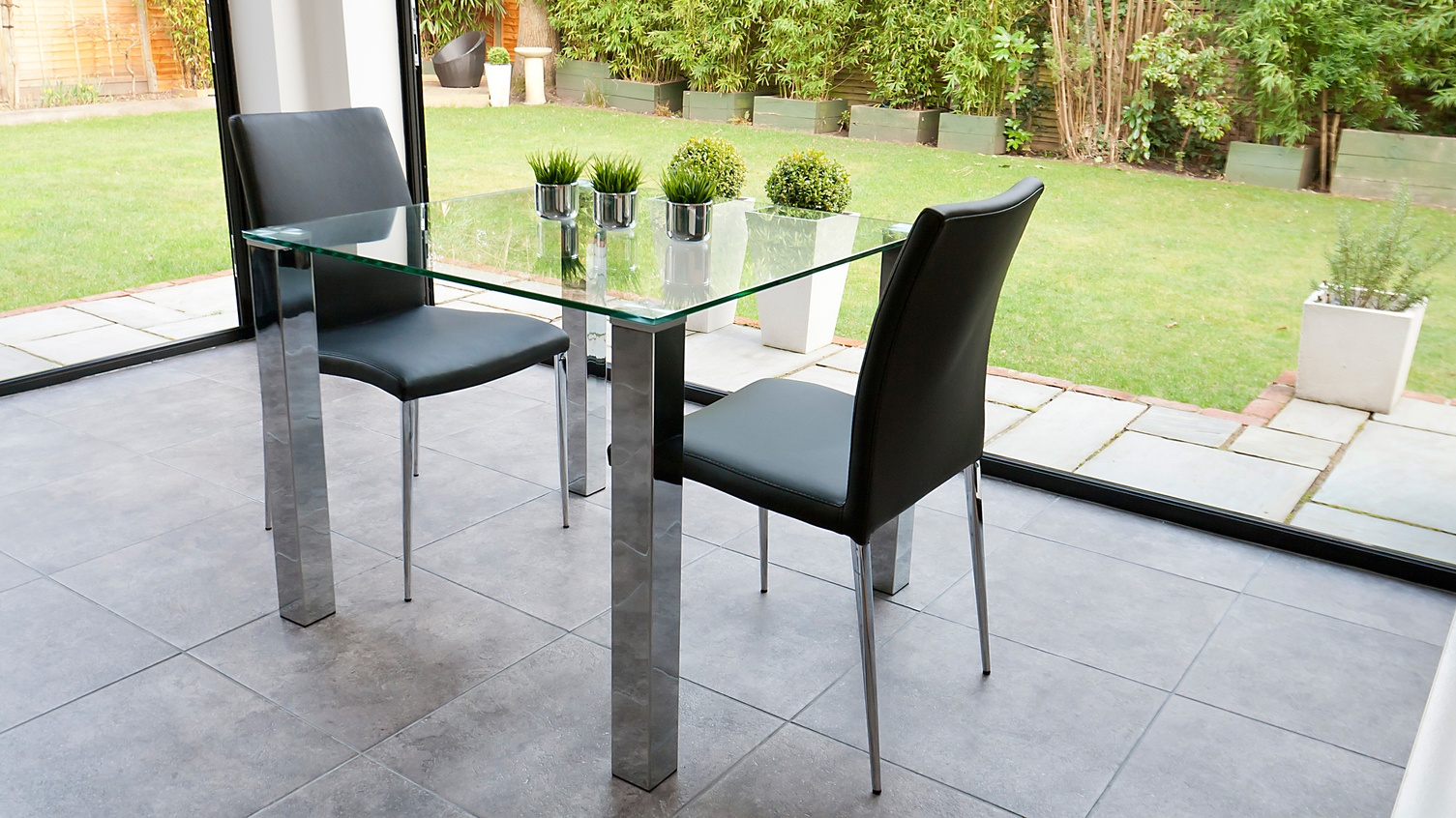 tiva glass table and elise chairs small dining set 3 - 5 Reasons to Go With Black Dining Chairs