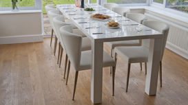 Fern White Gloss and Curva Extending Dining Set