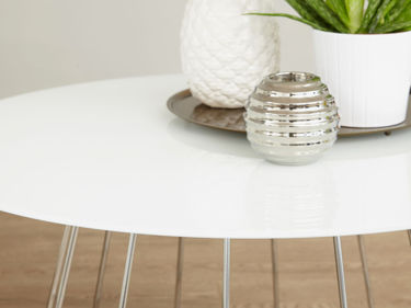 White Glass and Chrome Coffee Table Living Room Furniture