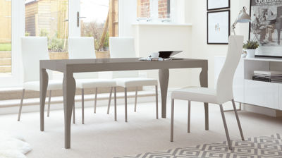 Eva Taupe Grey Gloss and Iva Real Leather 6 Seater Dining Set