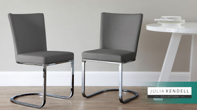 Form Black Chrome Cantilever Dining Chair