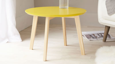 Penny Yellow and Oak Side Table