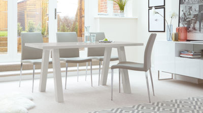 Zen Grey Gloss and Elise 6 Seater Dining Set