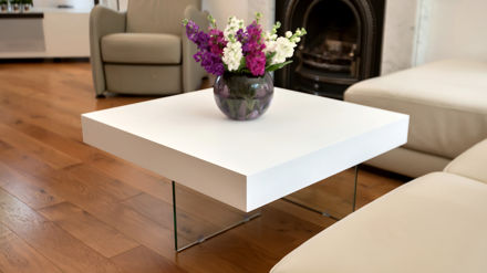 Square Modern White Oak Coffee Table Funky Tempered Clear Glass Legs
