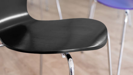 Black Dining Chairs with Chrome Legs
