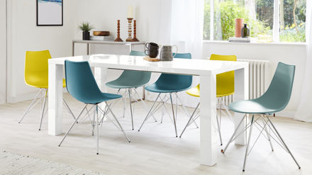 Modern White Gloss Extending Dining Table
