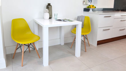 Small White Gloss Dining Table and Yellow Chairs