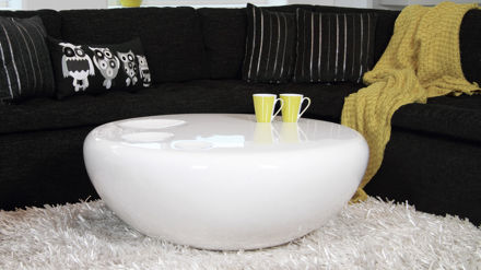 Round Coffee Table White High Gloss Modern Curvy And Funky