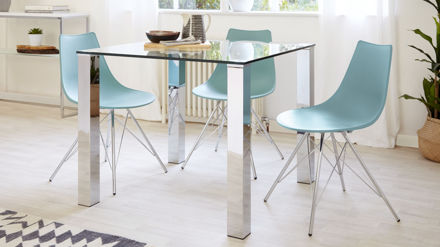 stylish square glass dining table chrome legs seats 4