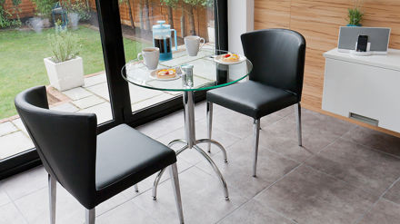 Modern round glass kitchen table trendy chrome legs seats 2 people - Small two person dining table ...