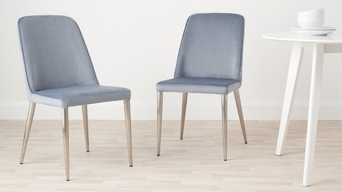 Bay Velvet and Brushed Steel Chair