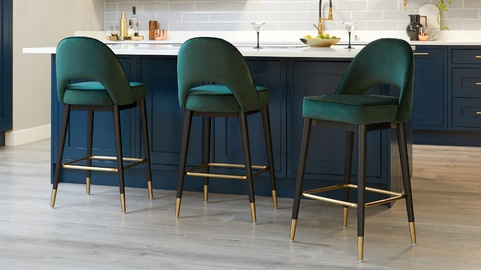 Clover Fern Green Velvet Bar Stool