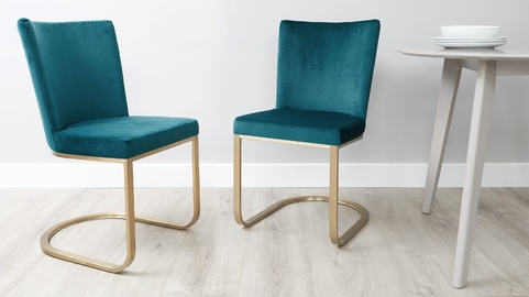 Form Velvet and Brass Cantilever Dining Chair