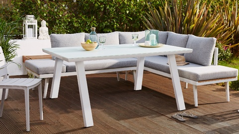 Fresco White 6 Seater Trestle Garden Dining Table