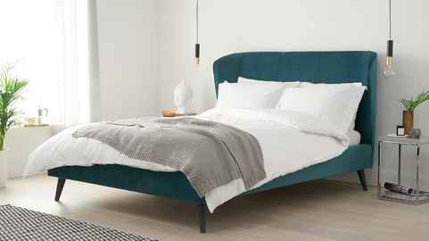 Mellow Teal Velvet King Size Bed