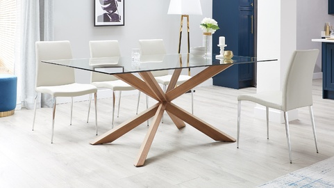 972291651cfee Otter Clear Glass and Walnut Dining Table