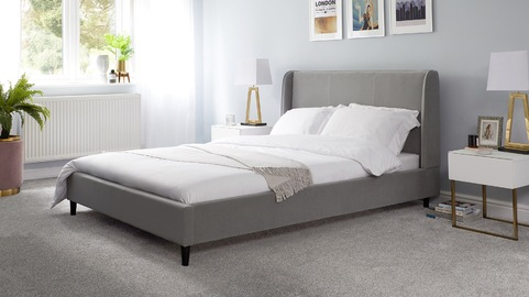 Paolo Feather Grey Velvet Double Bed