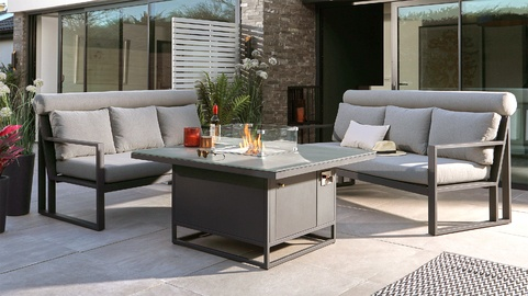 Romero Firepit Table and Verano Bench Set