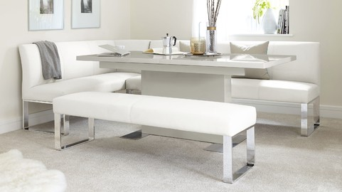Sanza Large Extending Grey Gloss Dining Table